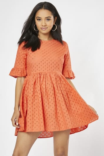 MACARIA ORANGE BRODERIE ANGLAISE FRILL SLEEVE MINI DRESS