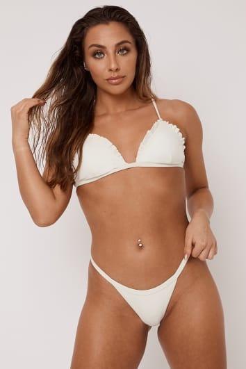 ALOHI CREAM RIBBED FRILL EDGE TRIANGLE BIKINI