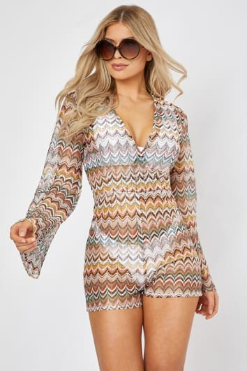 TOVAH RUST ZIG ZAG CROCHET V NECK PLUNGE PLAYSUIT