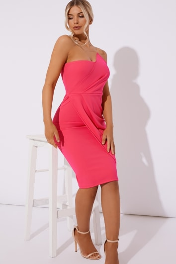 GINY PINK RUCHED FRONT BANDEAU MIDI DRESS