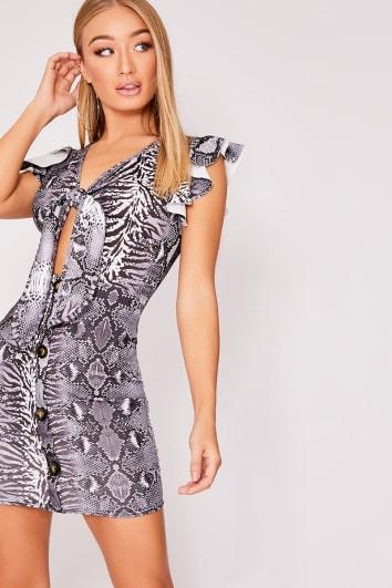 LELE GREY SNAKE PRINT TIE FRONT HORN BUTTON DRESS