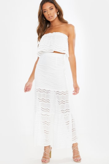 NAYOMIE CROCHET LACE TIERED MAXI SKIRT