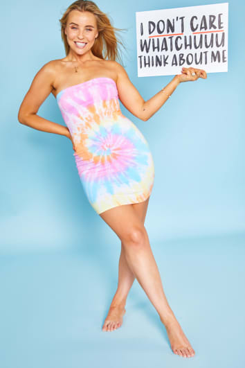 CHESSIE KING MULTI COLOURED SWIRL TIE DYE BANDEAU BODYCON MINI DRESS