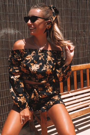 DANI DYER BLACK FLORAL BARDOT FRILL CROP TOP
