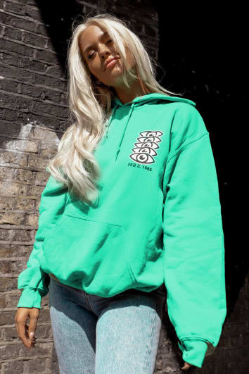 LOTTIE TOMLINSON GREEN SLOGAN EYE HOODY