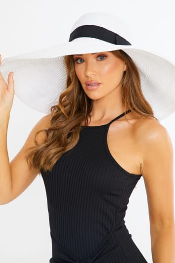 WHITE LARGE STRAW HAT