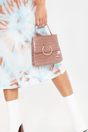 MOCHA CROC WITH GOLD RING MINI BAG