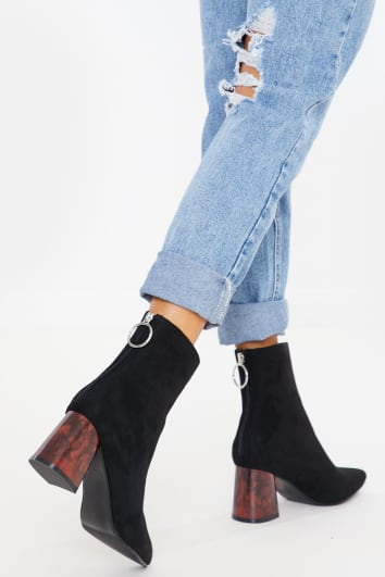 EVANGALINE BLACK FAUX SUEDE BROWN HEEL ANKLE BOOTS