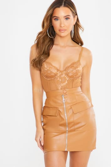 ALURAH TAN FAUX LEATHER ZIP FRONT MINI SKIRT