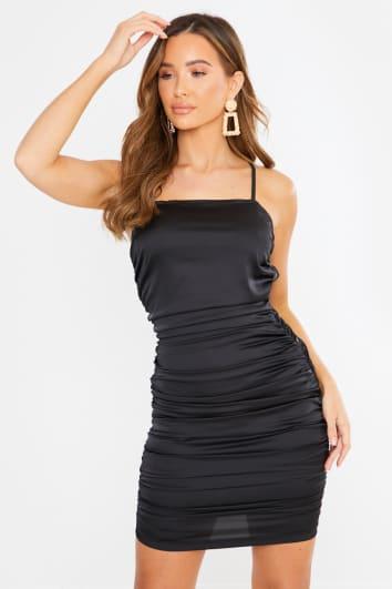 SUKIAH BLACK SATIN RUCHED MINI DRESS