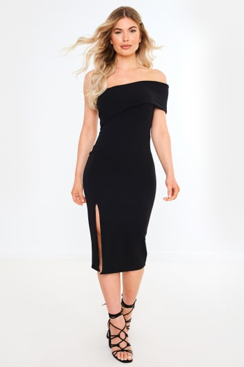NORMEEDA BLACK ONE SHOULDER BARDOT MIDI DRESS
