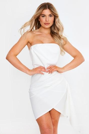 KETKI WHITE BANDEAU RUCHED DETAIL MINI DRESS