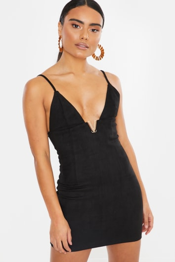 HENRIETTE BLACK FAUX SUEDE MINI DRESS