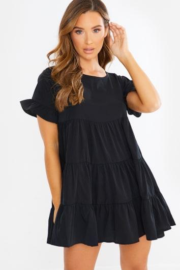 SARENYA BLACK FRILL LAYERED SMOCK DRESS