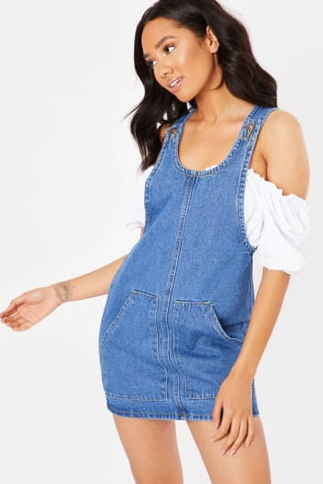 TERMIA DARK BLUE DENIM POCKET DETAIL DUNGAREES