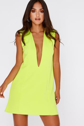 SARAH ASHCROFT LIME PLUNGE MINI DRESS