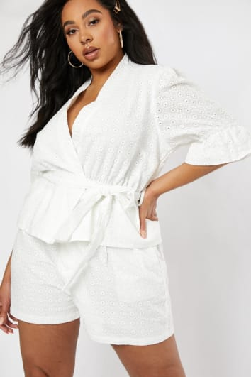 CURVE LORNA LUXE 'RIVIERA' WHITE BRODERIE ANGLAISE PUFF SLEEVE CO-ORD JACKET