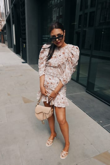 LORNA LUXE 'PRACTICALLY PERFECT' PORCELAIN NUDE FRILL CO-ORD MINI SKIRT