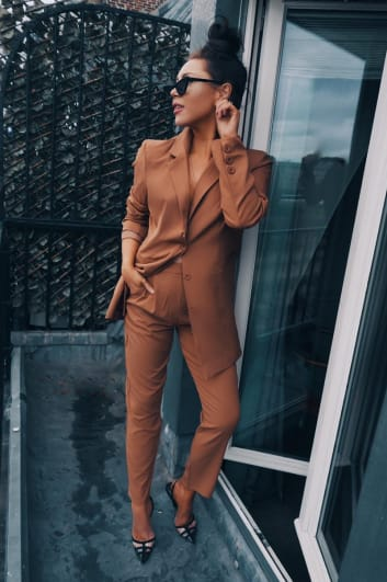 LORNA LUXE 'ALREADY TAKEN' TAN TAILORED CO-ORD TROUSERS