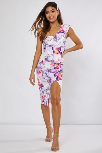 LAVONNE WHITE FLORAL ONE SHOULDER FRONT SLIT MIDI DRESS