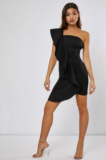 JORGINA BLACK ONE SHOULDER FRILL MINI DRESS