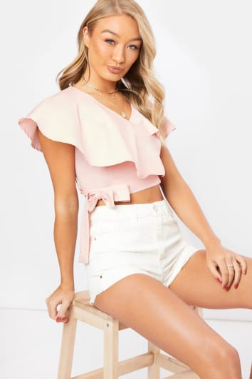 KYNAH PINK COTTON FRILL WRAP TOP