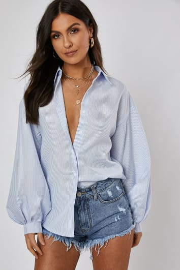 NARANI PINSTRIPE OVERSIZED BALLOON SLEEVE SHIRT