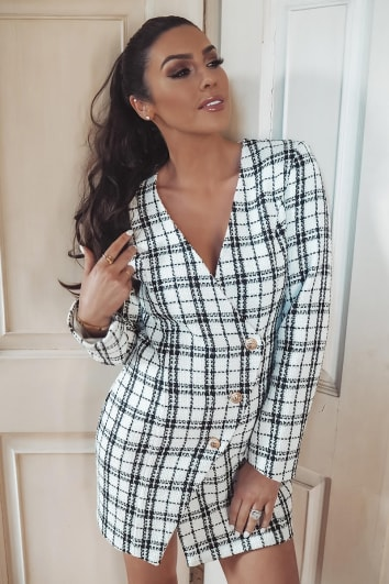 SUZANNE JACKSON WHITE CHECKED TWEED BLAZER DRESS