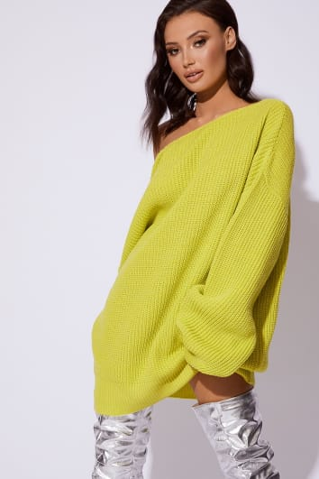 CC CLARKE LIME OVERSIZED V NECK JUMPER DRESS