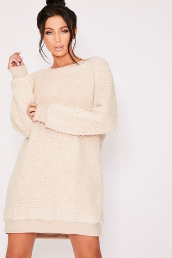 CHERRY CAMEL TEDDY FUR SWEATER DRESS