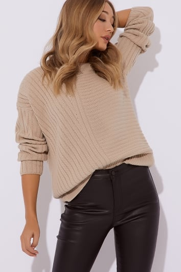 camel asymmetric rib knitted jumper