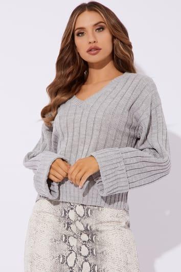 grey v neck oversized ribbed jumper