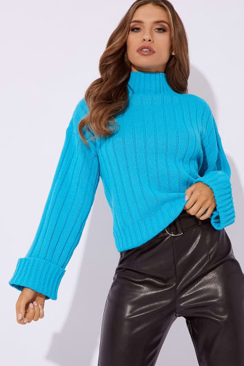 jewel blue chunky knit high neck jumper