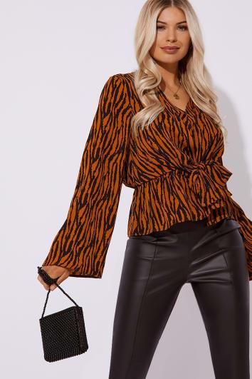 zebra print tie front blouse