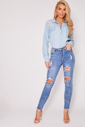 blue light wash denim high waisted multi rip frayed hem skinny jeans