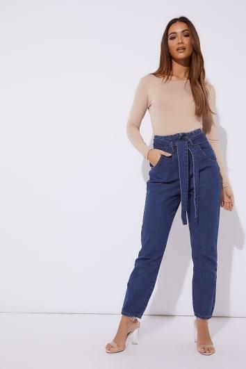 blue denim tie waist jeans