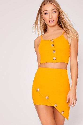 mustard horn button asymmetric co-ord mini skirt