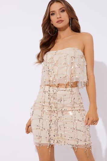 nude sequin tassel co-ord mini skirt