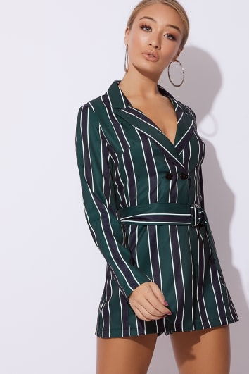green striped belted blazer playsuit