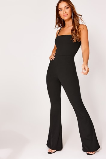 black square neck flared leg jumpsuit