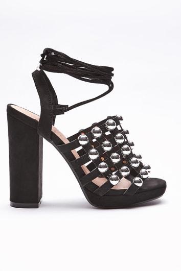 black studded wrap around tie block heels