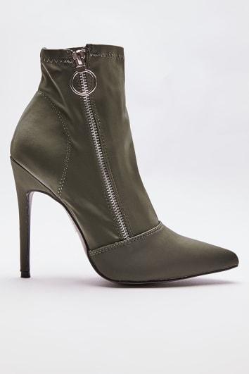 khaki stretch heeled sock boots