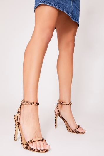 leopard print cut out back barely there heel