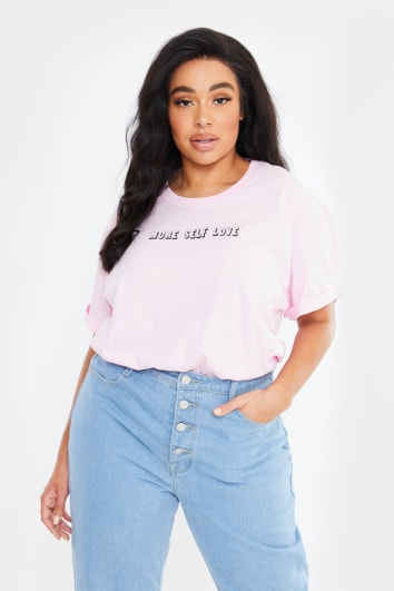 CURVE CHESSIE KING PINK 'MORE SELF LOVE' BOYFRIEND FIT T SHIRT