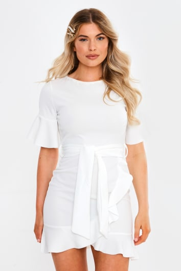 white frill tie waist mini dress