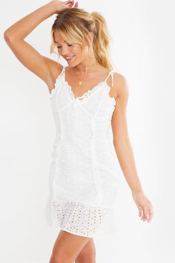 white broderie anglais tie shoulder mini dress