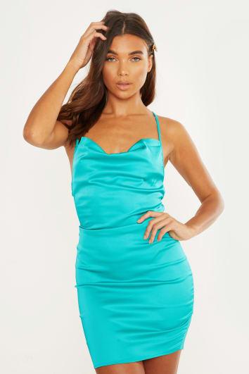 turquoise satin lace up back mini dress