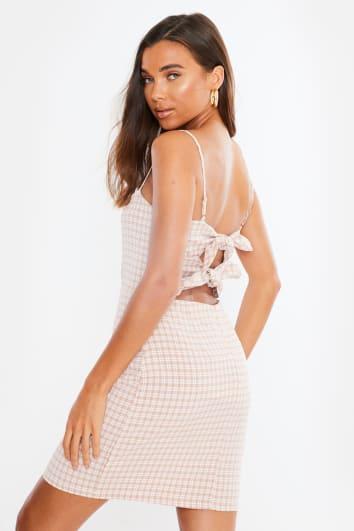 pink gingham tie back mini dress