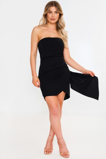 black bandeau ruched detail mini dress