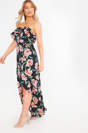 black floral strapless button down maxi dress
